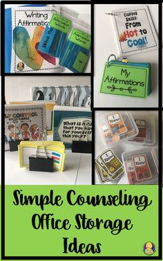 Counseling Office Storage Solutions - The Middle School Counselor School Counselor Organization, School Counselor Office, Counseling Office Decor, Therapy Office Decor, Middle School Counseling, Elementary School Counselor, Classroom Organization, Classroom Ideas, School Counsellor
