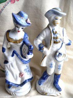 Blue And White Victorian Figurines Vintage Porcelain Sophia Ann Man Woman