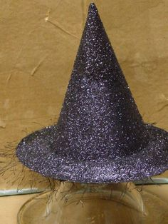 Witch Hat made from a paper plate and a birthday party hat