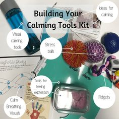 Items to add to your calming tools kit in your classroom, office or home. Calm Down Box, Calm Box, Calm Down Corner, Conscious Discipline, Mindfulness For Kids, Mindfulness Activities, Calming Activities, Education Positive, Sensory Boxes