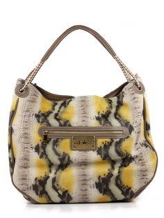 Maxi bolsa feminina Kabupy em couro legítimo estampa cobra.