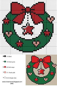 Small patterns for cross stitch or perler beading. Crochet Christmas Wreath, Cross Stitch Christmas Ornaments, Xmas Cross Stitch, Cross Stitch Bookmarks, Cross Stitch Cards, Christmas Embroidery, Cross Stitch Kits, Christmas Cross, Cross Stitch Designs