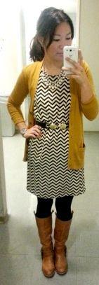 Chevron dress, mustard cardigan, brown boots // Love at First Shop