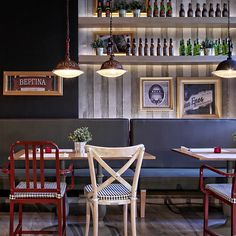 The floor made of matching but varying sized boards, the café-style tables and the box shelving all combine to good effect. There is, of course, beer everywhere, which is never a bad thing...