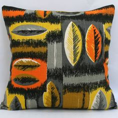Scatter Cushion in Vintage Orange Leaf Fabric