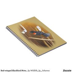 """Red-winged Blackbird Notebook (80 Pages B&W). Designed and created from my original oil painting """"Marsh Song - Red-winged Blackbirds"""" by Johanna Lerwick Wildlife/Nature Artist."""