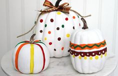 Create your very own Painted Pumpkins to spice up that ordinary Halloween decor! Funny Kid Halloween Costumes, Easy Homemade Halloween Costumes, Halloween Pumpkins, Halloween Decorations, Edible Finger Paints, Plastic Pumpkins, Wholesale Party Supplies, Thanksgiving Crafts For Kids, Painted Pumpkins