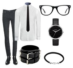 Casual Business Slim Fit by the-urban-elephant on Polyvore featuring Yves Saint Laurent, Nixon, John Hardy, Muse, BOSS Black and Armani Collezioni