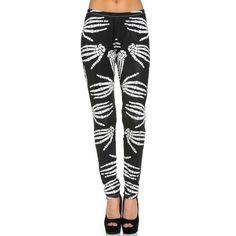 Skeletor Skeleton Hand Leggings ($17) ❤ liked on Polyvore featuring pants, leggings, stretchy pants, white pants, white leggings, x ray leggings and stretch leggings