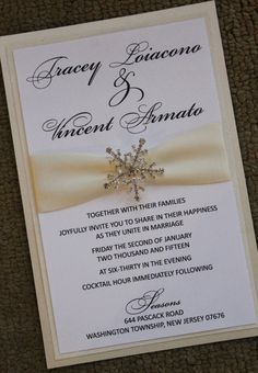 6x9 Shimmering Snowflake Wedding Invitation by atouchofsunshine4