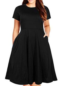 Nemidor Womens Round Neck Summer Casual Plus Size Fit and Flare Midi Dress with Pocket (Black - Plus Size Dresses - Ideas of Plus Size Dresses Winter Dresses For Work, Casual Work Dresses, Fall Outfits For Work, Bridesmaid Dresses Plus Size, Plus Size Dresses, Women's Dresses, Skater Dresses, Vestidos Vintage, Vintage Dresses