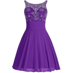 Icy Sun Women's A Line Beads Short Homecoming Dresses Rhinstone... ($79) ❤ liked on Polyvore featuring dresses, gowns, purple evening gowns, purple homecoming dresses, short purple dresses, prom gowns and sequin gown