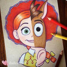 Artista fusiona a personajes de Disney, el resultado es hermoso Disney Drawings Sketches, Disney Sketches, Art Drawings Simple, Disney Art Drawings, Disney Drawings, Cool Art Drawings, Drawings, Doodle Art, Art