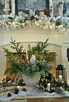 White Christmas Decorations Ideas are one inseparable section of the Christmas holidays, without which Christmas would lose its color, spirit, warmth . Christmas Mantels, Noel Christmas, Rustic Christmas, Winter Christmas, Christmas Wreaths, Christmas Crafts, Christmas Lights, Woodland Christmas, Coastal Christmas