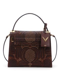My Rockstud Medium Primitive Satchel Bag, Brown by Valentino at Neiman Marcus.