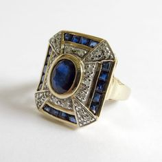 Lady's Vintage Custom 14K Sapphire & Diamond Ring from the-vault on Ruby Lane