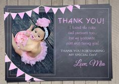Girls Pink Thank You Card / Printable by InvitaitonsByLittleP