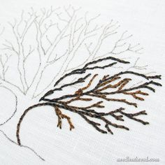 Embroidered tree worked with split stitch