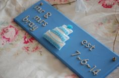Handmade Personalised Wedding 'Mr and Mrs' 'Est date' Sign Felt Wedding Cake Handmade Wedding, Personalized Wedding, Wedding Cake Embellishments, Note Fonts, Local Craft Fairs, Mollie Makes, Home Decor Items, Wedding Signs, Hand Stitching