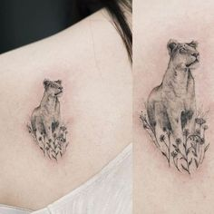 Tiny lioness tattoo in sketch style on shoulder