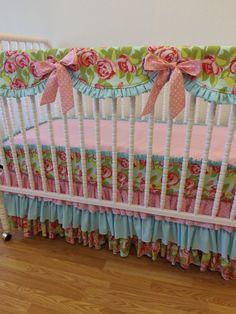 Bumperless crib bedding!  Little Charlie May
