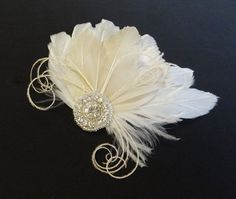 Champagne Bridal Hair Accessory Ivory White by BatcakesCouture, $62.95