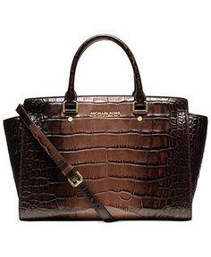 MICHAEL Michael Kors Handbag, Selma Large Croco Satchel - Michael Kors Handbags - Handbags & Accessories - Macy's- $222.99