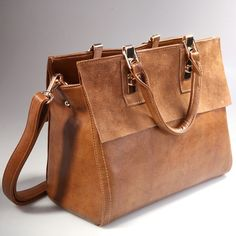 321ebe10b307 Fashion Womens Real Leather With Nubuck Retro Classic Style Brown Satchel  Messenger Bags
