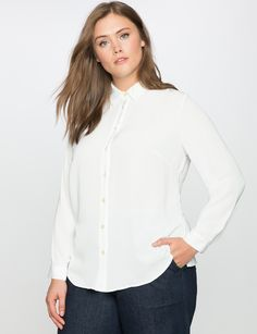 Essential Oxford Shirt | Women's Plus Size Tops | ELOQUII