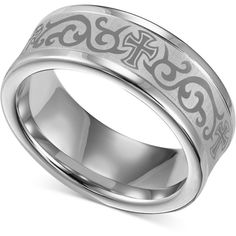 Kay Mens Cross Wedding Band Stainless Steel 75mm Jewelry
