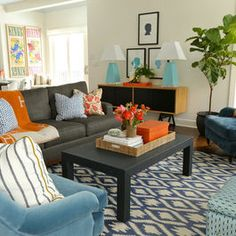 Bedroom Decorating Ideas Blue And Orange gray orange blue family room design, -- basement decor | basement