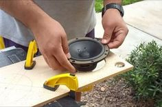 Picture of Making the Speaker Cutouts Diy Bluetooth Speaker, Home Speakers, Subwoofer Box Design, Wood Plans, Electronics Projects, Home Automation, Arduino, Wood Projects, Pictures