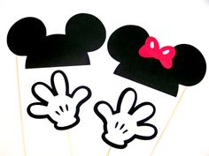 Mickey & Minnie Mouse Photo Booth Props Disney Party Ears Hat and Hands Photobooth Props 4 pcs For Your Wedding or Party Photos