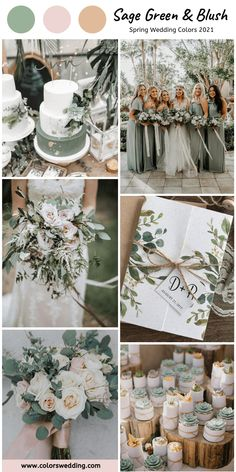 Sage Green + Blush Wedding: wedding cakes, bride's bouquet, small gifts, invitation and sage bridesmaid dresses. themes fall september Top 8 Spring Wedding Color Combos for 2021 Spring Wedding Colors, Summer Wedding Colors, Spring Weddings, September Weddings, September Wedding Colors, Neutral Wedding Colors, Spring Wedding Decorations, Spring Wedding Inspiration, Wedding In September