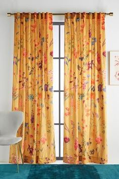 Layne Velvet Curtain by Anthropologie in Yellow, Curtains Yellow Curtains, Floral Curtains, Colorful Curtains, Drapes Curtains, Bedroom Curtains, Eclectic Curtains, Drapery, Interior Design Curtains, Bright Curtains