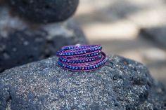 Purple & Pink Czech Fire Polished Wrap Bracelet
