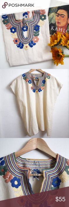 "Mexican Embroidered Artisan Blouse - Muted Pastels This listing includes a a beautifully embroidered peasant blouse with a boxy fit and floral motifs.   The material is a natural cotton/linen material (shown in close-up photo). Slightly uneven hems.  The bust measures 24"" across, and the length measures almost 25"". No tags of size listed.   Hand made in Mexico. - Boutique item, no brand - Anthropologie Tops Blouses"