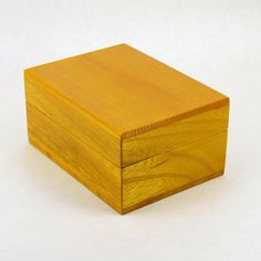Yellow Sitka Spruce Wood Box Business Card Holder by petersugars.