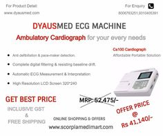 DYAUSMED ECG MACHINE BEST PRICE WITH INCLUSIVE GST & FREE SHIPPING NO HIDDEN CHARGES PLEASE VISIT ON: www.scorpiamedimart.com CONTACT US FOR MORE DETAIL.