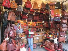 Leather market in Florence, Italy - goes on block after block