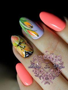 Фотография Cute Nail Art, Cute Nails, Spring Nails, Summer Nails, Hair And Nails, My Nails, Chrome Powder, Floral Nail Art, Finger