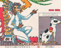 Mictlantecuhtli Itzcuintli - Fine Art original - Mexica Spirituality - Tonalli Almanac