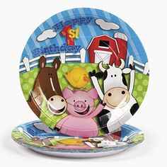 Farm 1st Birthday Plates (8) : Serve cake, snacks and other party food with these fun farm themed plates.