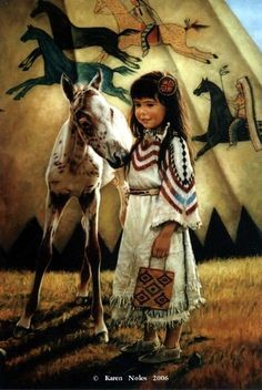 Little Indian Girl With Her Appaloosa Foal.