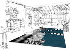 """""""Place des fêtes"""" 100% wool - 170x240 cm Perspective view"""