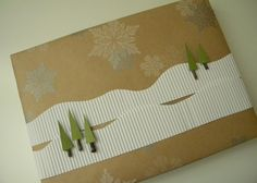 Adding a little corrugated paper to this Kraft paper a winter scene emerges