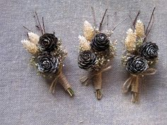 Woodland winter pine cone boutonniere white wedding groom buttonhole wedding pin rustic wedding fathers lapel set -6