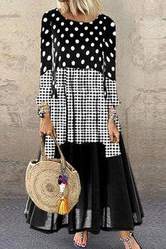 Casual Fall Outfits, Casual Dresses, Plus Size Maxi Dresses, Dresses With Sleeves, Women's Fashion Dresses, Boho Fashion, Beautiful Dress Designs, Panel Dress, Long Sleeve Shirt Dress