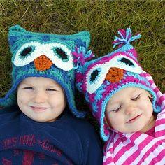 Beautiful Owl Crochet Hats / Hermosos gorros tejidos