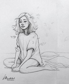 Sleepy girl - pencil line art sketch Girl Drawing Sketches, Cool Art Drawings, Pencil Art Drawings, Pencil Sketching, Girl Sketch, Realistic Drawings, Pencil Sketch Art, Cartoon Pencil Drawing, Croquis Drawing
